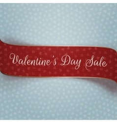 Valentines Day red and golden textile Banner vector