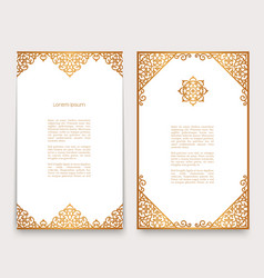 Vintage cards with gold border ornament vector