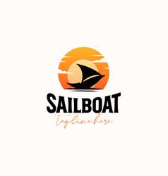 Vintage sailboat sunset hipster logo template vector