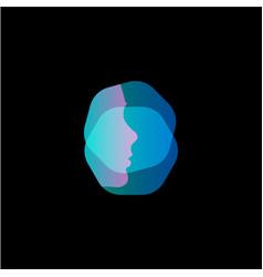 Virtual reality modern logo template face vector