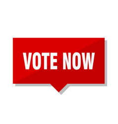 Vote now red tag vector