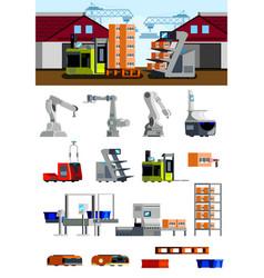 warehouse robots flat icons vector image