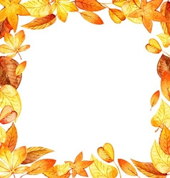 Watercolor leaves square frame vector
