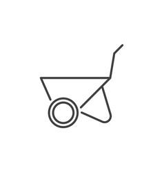 wheelbarrow concept outline minimal icon vector image