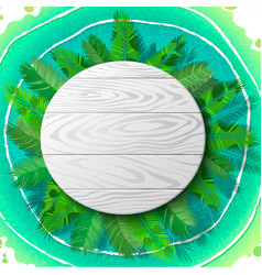 Wooden circle emblem on palm vector