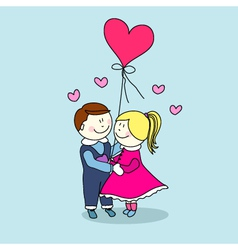 Young Couple in Love with Balloon vector