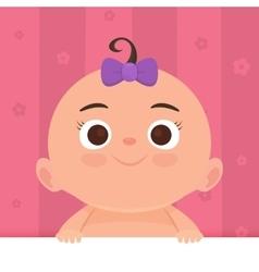 Flat little happy girl vector image