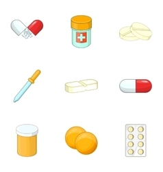 Medications icons set cartoon style vector image