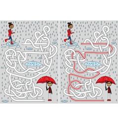 Rainy day maze vector image