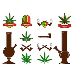 Set of cannabis leafs bongs vector image