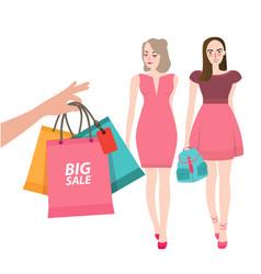 two girls friends walking shopping bring bag big vector image