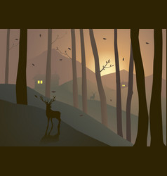 woods on hills during sunset or sunrise vector image