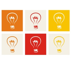 Light bulb icon - hand drawn colorful doodle set vector image vector image