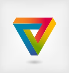 Penrose triangle multicolor abstract symbol vector image