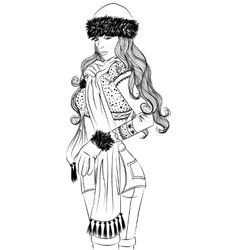 Sexy girl in winter clothing sideways outline vector image vector image