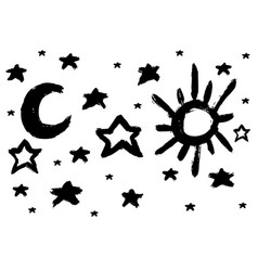 brush sun and moon star vector image
