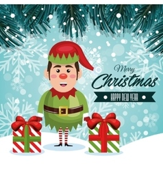 greeting christmas elf and gifts with snowfall vector image vector image