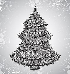 Hand drawn with ornamental Christmas Tree vector image