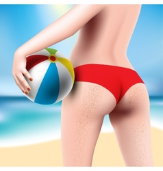 woman with beach ball vector image