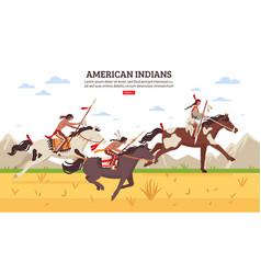 american indians cartoon background vector image
