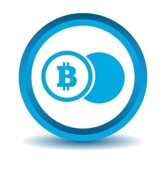 Bitcoin coin icon blue 3D vector image