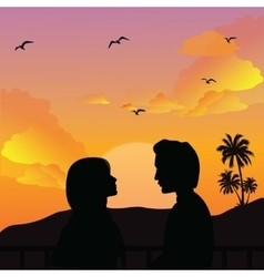 couple silhouette romance man woman girls sunset vector image vector image