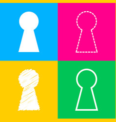 keyhole sign four styles of icon on vector image