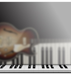 piano keys and reflection with jazz guitar vector image vector image