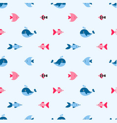 seamless pattern with cute fishes and whale vector image vector image