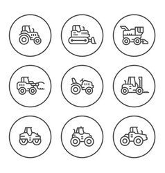 set round line icons of tractors vector image vector image