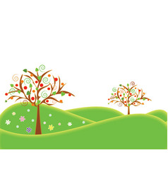 a banner with apple trees vector image