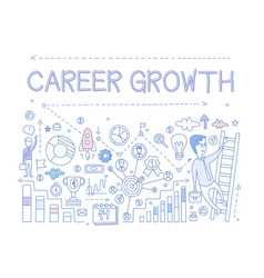 About career growth with man on vector