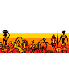 African ethnic background people animals vector
