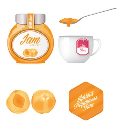 Apricot jam and a cup of tea vector image