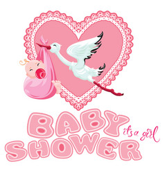 baby shower card invitation etc stork with vector image