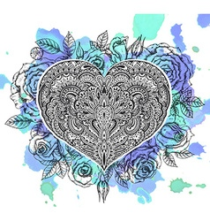 beautiful hand drawn ornate heart in entangle vector image
