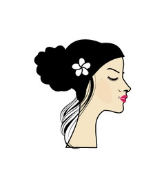 Beautiful lady with a lovely hairstyle vector image