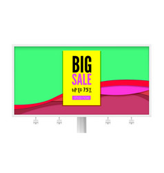 big sale billboard with discount action promo vector image