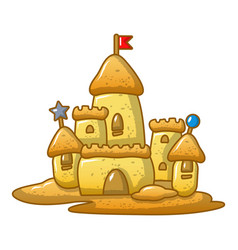 Big sand castle icon cartoon style vector