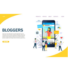 Bloggers website landing page design vector
