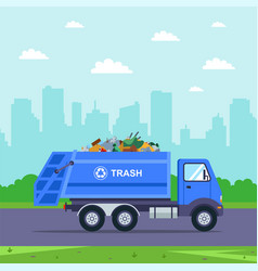 Blue truck takes trash out city vector