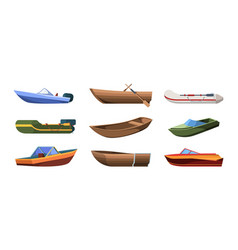 Boats types wooden ships for ocean or marine sail vector