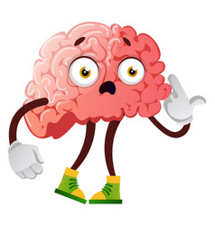 Brain is looking unhappy on white background vector