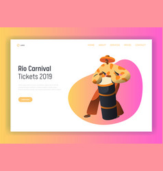 Brazil carnival man drum player landing page vector