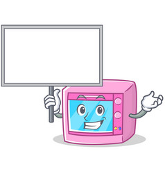 Bring board oven microwave character cartoon vector