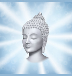 Buddha face with rays on blue background vector