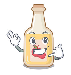 Call me bottle apple cider above cartoon table vector