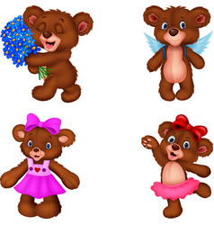 cartoon bear collection set vector image