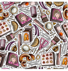 cartoon hand-drawn hair salon seamless pattern vector image