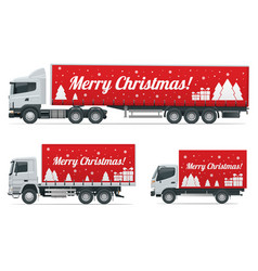 christmas and new year delivery truck vector image